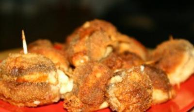 Ciuperci pane cu branza de burduf