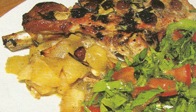 Friptura de porc cu stafide si mar